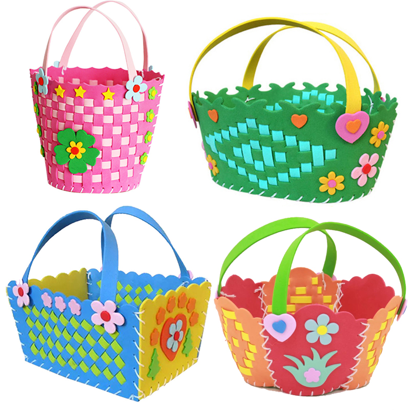 EVA Handmade Woven Paste Basket Childen Toy DIY Handicrafts Girl Gifts Sticky Kindergarten Material Kids Crafts Toys 2019 New