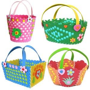EVA Handmade Woven Paste Basket Childen Toy DIY Handicrafts Girl Gifts Sticky Kindergarten Material Kids Crafts Toys 2019 New