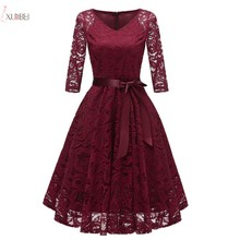 Burgundy Lace Short Evening Dress 2019 Elegant Pink Formal Dress Sexy V Neck Half Sleeve Party Gown For Women fashionable plunging neck short sleeve embroidered lace spliced dress for women