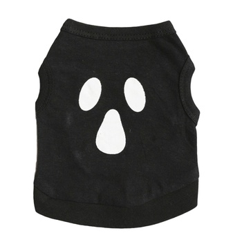 Halloween Dog T-shirt Dog Costume Halloween Cotton Black With Funny Face Printed Patter For Small Dogs Pet Spring Summer Apparel