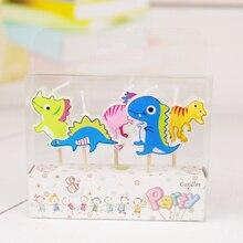 Decoración de tortas, 5 uds., velas de dibujos animados de dinosaurios para niños, suministros para fiesta de cumpleaños, recuerdo para niños, decoración de tortas y cupcakes
