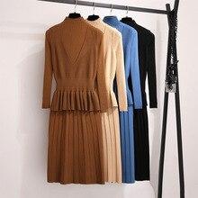 Mooirue Autumn Winter Kintting 2 Piece Outfits For Women Turtleneck Vintage Long Dress V Neck Ruffles Vest Streetwear Sets