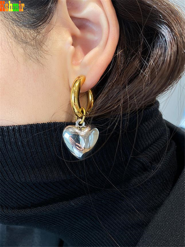 Kshmir Heart-shaped exaggerated pearl Earrings women's fashion metallic gold round earrings 2020