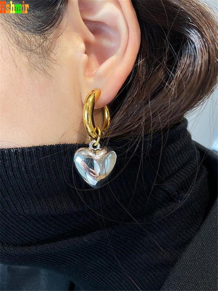 Kshmir Heart-shaped exaggerated pearl Earrings women's fashion metallic gold round earrings 2020