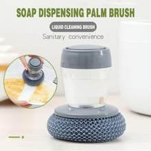 Kitchen Soap Dispensing Palm Brush Washing Liquid Dish Brush Soap Pot Utensils with Dispenser Cleaning bathroom cleaning tools