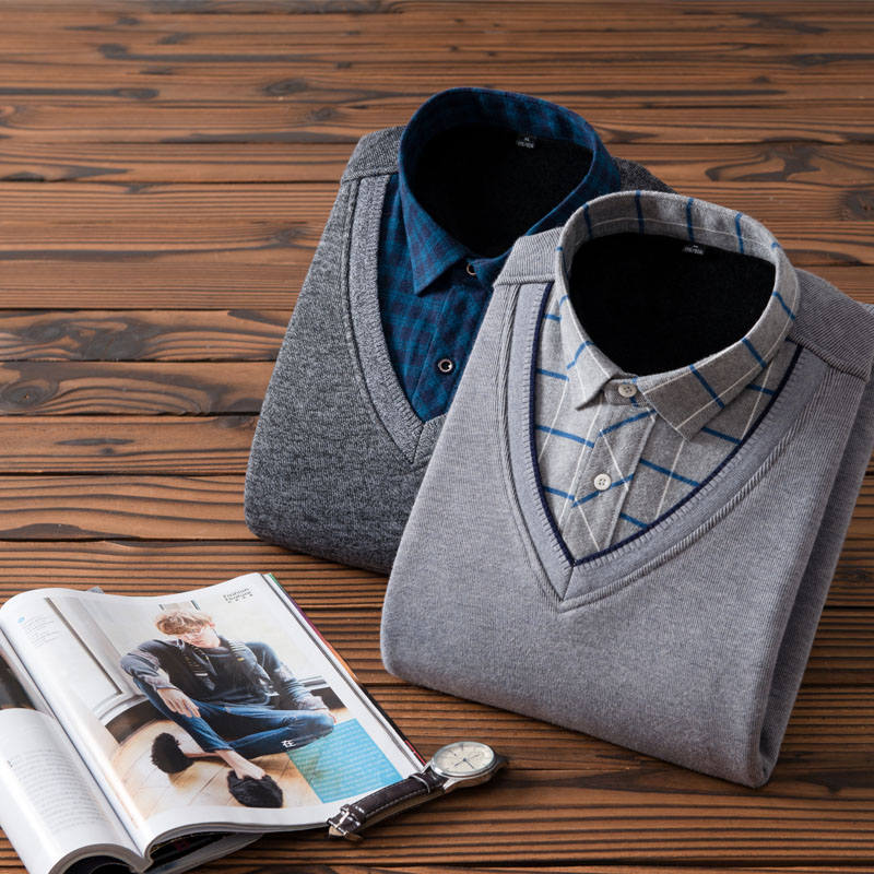 Image 3 - New Fashion Men Shirts Fake two pieces pieces Thicken Winter Cool Men's Shirt Plus velvet Casual Plaid Warm Man Shirt YN10520-in Casual Shirts from Men's Clothing