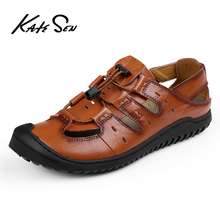 New Casual Men Soft Sandals Comfortable Summer Genuine Leather Roman Outdoor Beach Big Size 38-46
