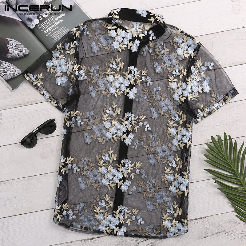 INCERUN Fashion Men's Shirt Short Sleeve Flower Embroidered Mesh Sexy Shirt Men See Through Slim Transparent Lace Shirt Tops