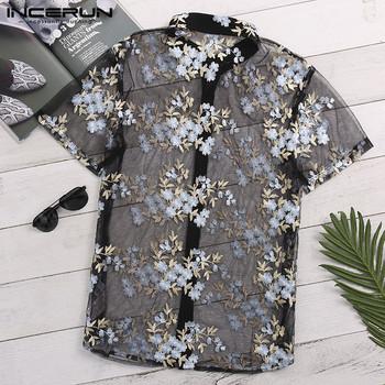 INCERUN moda koszula męska z krótkim rękawem kwiat haftowane siatki seksi koszulka mężczyźni widzą przez Slim przezroczyste koronkowa koszula topy tanie i dobre opinie CN (pochodzenie) POLIESTER KOSZULE CODZIENNE krótkie Wykładany kołnierzyk Jednorzędowe REGULAR Fashion Men Mesh Flower Embroidered Shirt