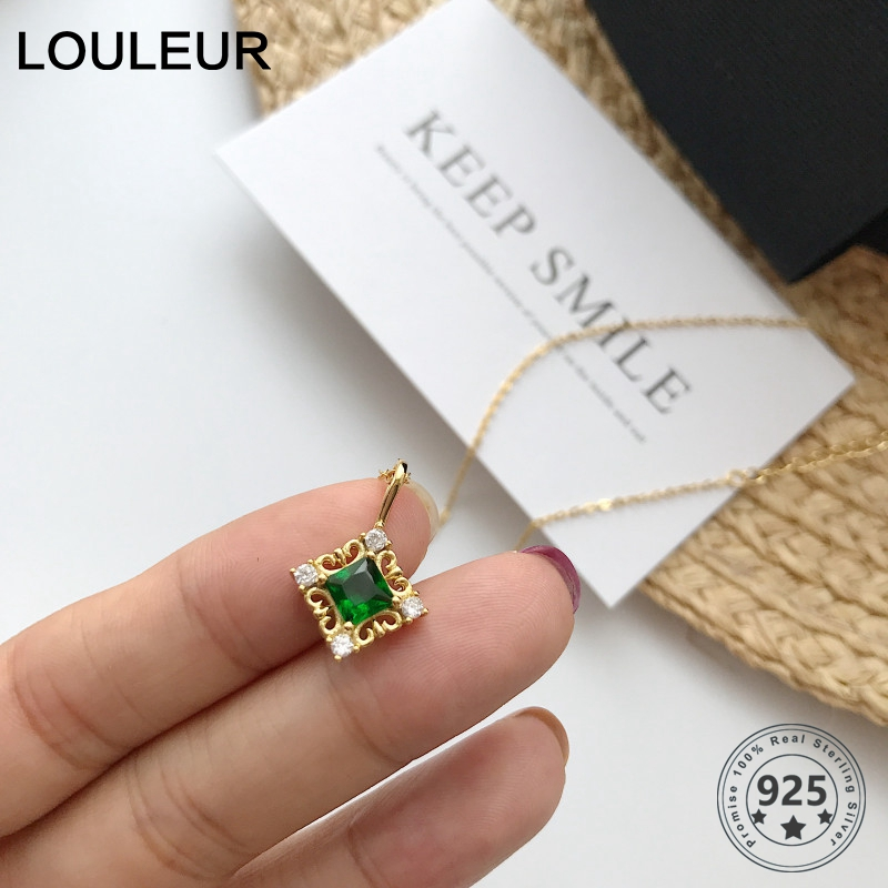 Louleur 925 Sterling Silver Crystal Necklace Green Zircon Pendant Gold Chain Necklace For Women Korean Silver 925 Jewelry Gifts