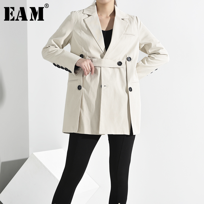 [EAM] Loose Fit Button Split Temperament Jacket New Lapel Long Sleeve Women Coat Fashion Tide Spring Autumn 2020 JQ29000