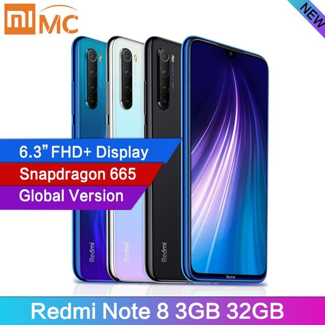 "Version mondiale Xiaomi Redmi Note 8 48MP 4 caméras 3GB 32GB Smartphone Snapdragon 665 Octa Core 6.3 ""FHD tout écran 4000mAh GPS"