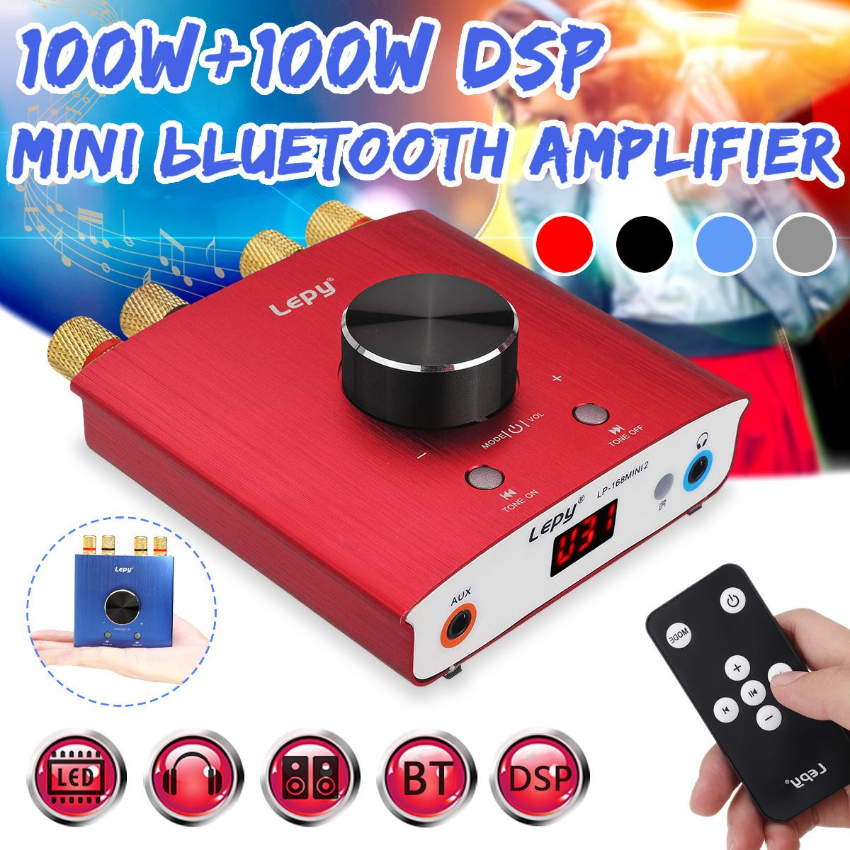 100W+100W <font><b>Mini</b></font> bluetooth 5.0 Digital Amplifier Hifi Stereo Home Audio Power Amp Car Amplifier <font><b>DSP</b></font> BT <font><b>mini</b></font> headphone class D image