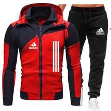 Marca adios treino dos homens 2 peças define jaqueta de inverno casual com zíper jaquetas roupas esportivas + calças moletom terno