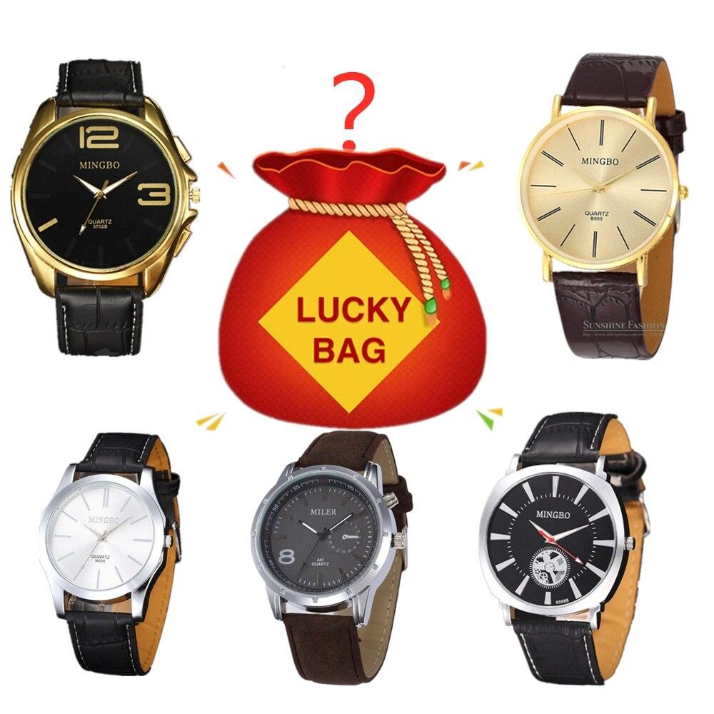 $2.99 Lucky Bag Random Products Men Quartz Watch Business Wristwatch Leather Strap Clock Homme Saati Horloges