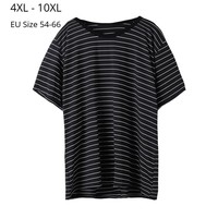 Plus Size 10XL 8XL 6XL 4XL Women Short Sleeves Summer T shirt Female Black Striped Crew Neck Basic T Shirts