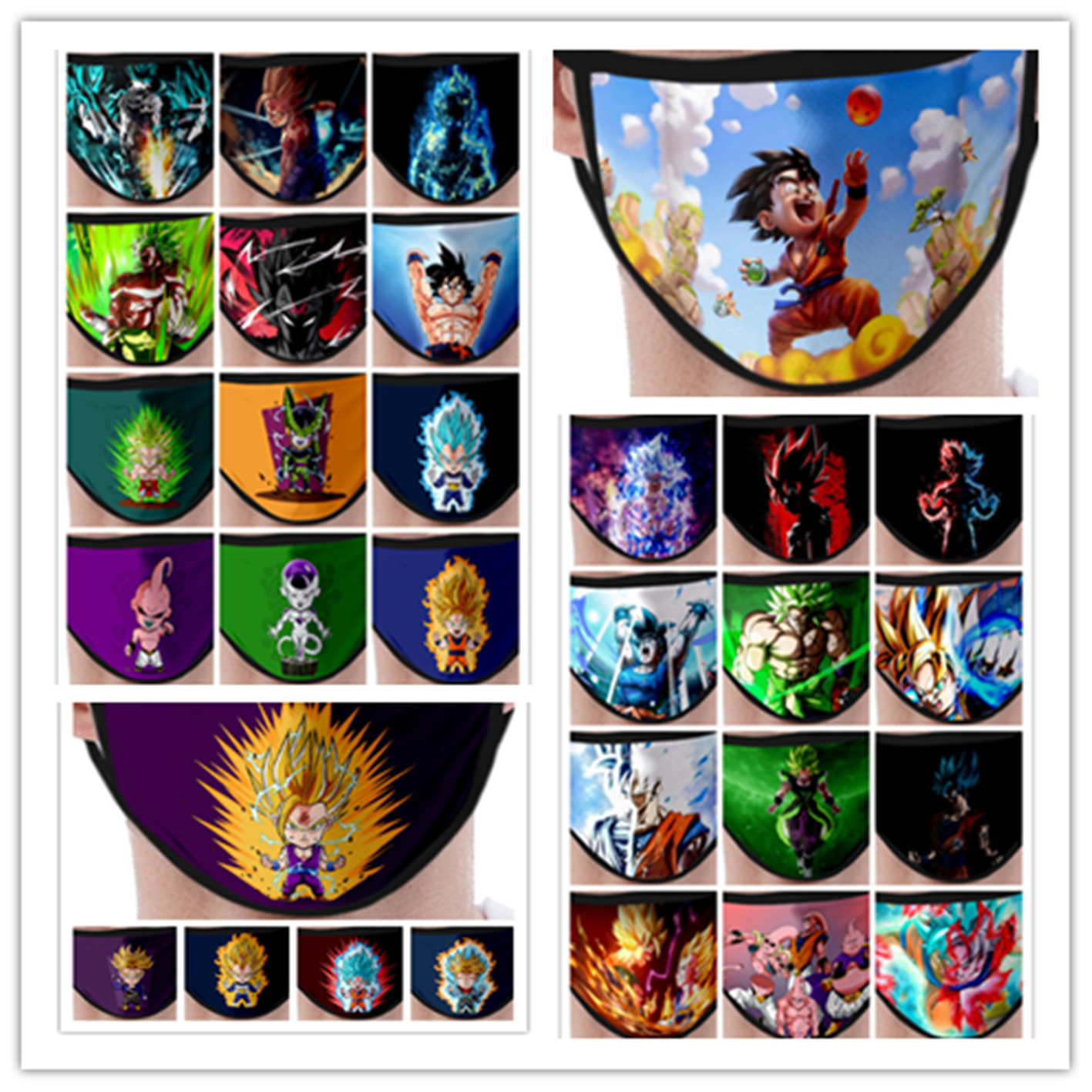 New Anime Dragon Ball Peripheral Printing Cosplay Mask Item Accessories Dustproof Anti-fog Fashion Printed Wash