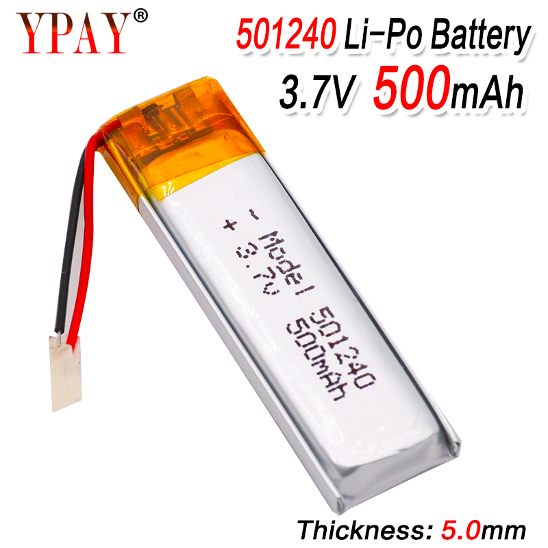 3.7V 500mAh 501240 Battery Li-Polymer Rechargeable Battery 501240 Li Po Lithium Cells for GPS Bluetooth Earphone MP3 MP4 051240(China)
