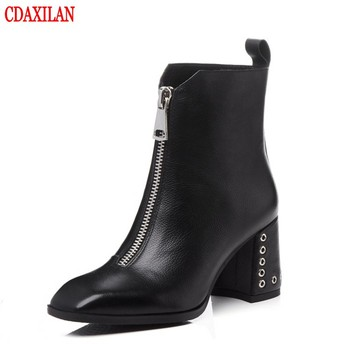 CDAXILAN new women's short boots genuine cow leather square heels  front zipper ankle boots ladies autumn winter