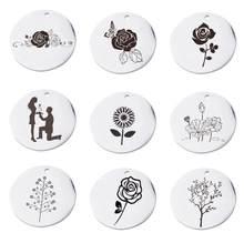 20 pçs/pçs/lote tamanho 15-30mm espelho polido prata cor redonda de aço inoxidável pingentes carimbando em branco para diy fazendo colar