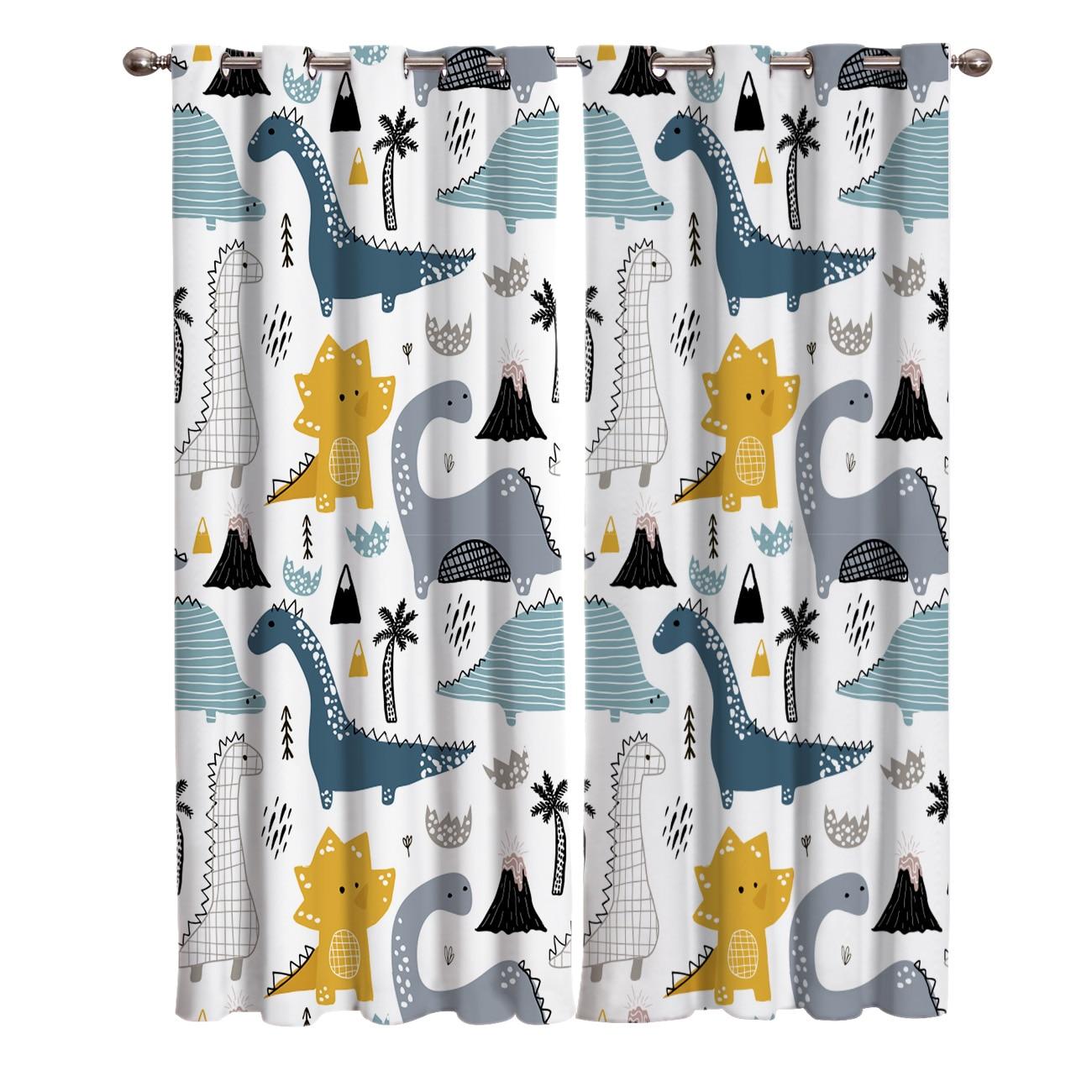Bonito dos desenhos animados dinossauro cortinas para tratamento de janela cortinas janela cortinas para sala estar quarto cortinas