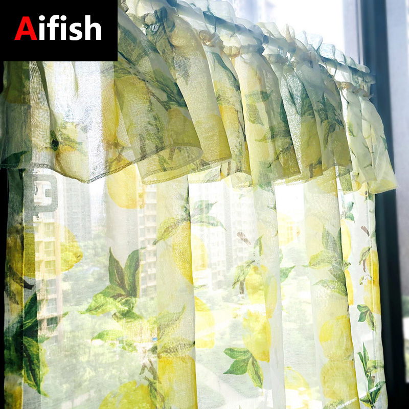 Northern Europe Yellow Lemon Printed Rod Pocket Sheer Kitchen Decoration Curtain Tulle Cafe Short Panel Drapes Door Curtains