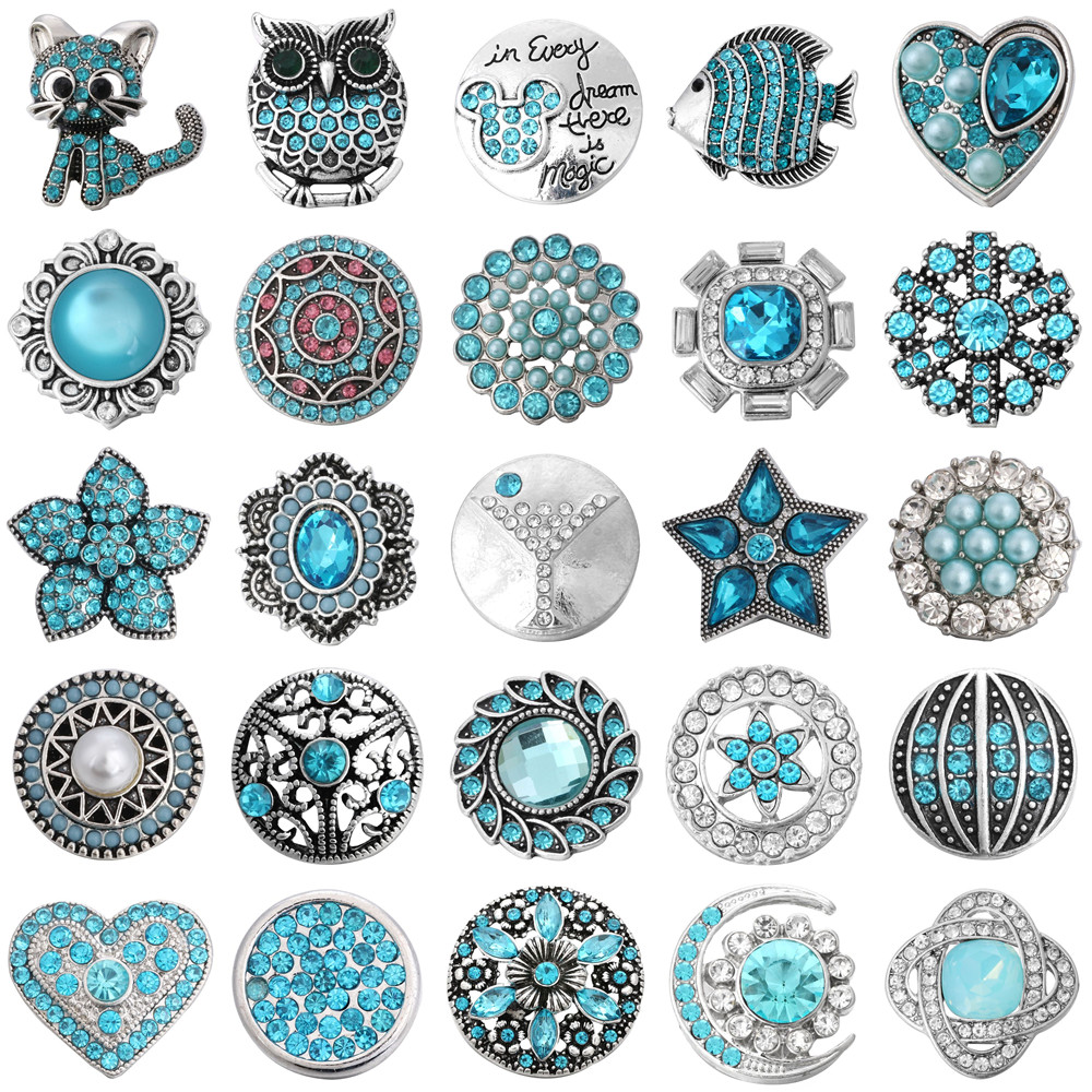 5pcs/lot New Snap Jewelry 18mm Snap Buttons Crystal Rhinestone Cat Owl Fish Heart Love Flower Snaps for Snap Button Bracelet