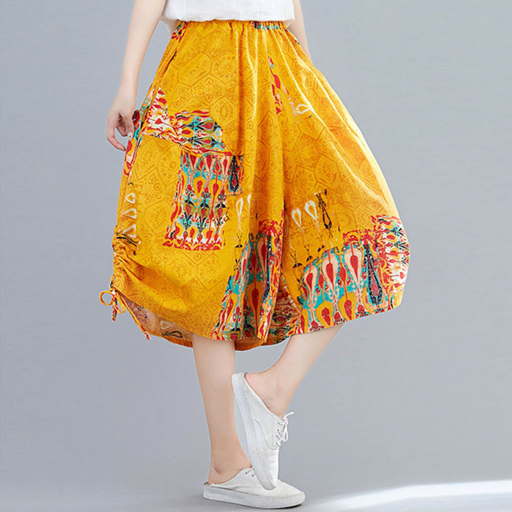 Summer Boho Cropped Harem Pants Drawstring Ruched Bud Wide Leg Pants Side Pockets Ethnic Printting Cotton Capri Sarouel