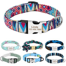 Personalized Dog Collar Nylon Print Dog Collars Customized Puppy Pet Collar Engraved Name ID for Small Medium Large Big Dogs Pug