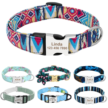 Personalized Dog Collar Nylon Print Dog Collars Customized Puppy Pet Collar Engraved Name ID for Small Medium Large Big Dogs Pug custom dog collar personalzied nylon pet dog id tag collars engraved printed puppy collar leash for small medium large dogs