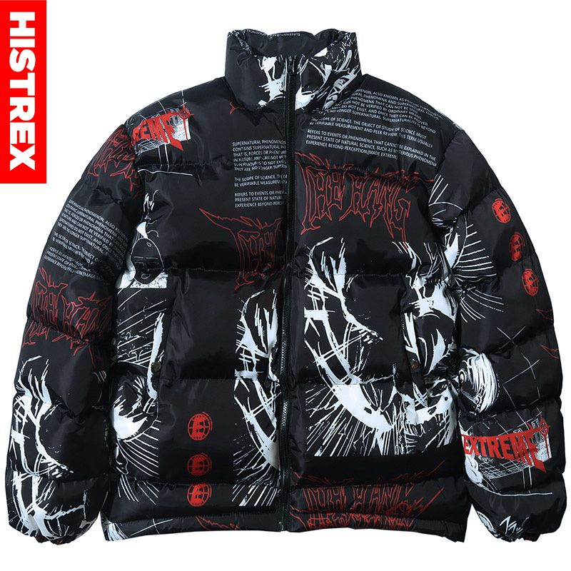 2020 куртка в стиле хип-хоп, парка, уличная одежда с японским мультяшным граффити, Мужская ветровка в стиле Харадзюку, зимняя стеганая куртка, ...