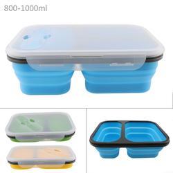 1100ML lekkość 2 kraty pudełko na lunch silikonowe składane Lunchbox pojemnik bento z łyżeczką widelec zastawa stołowa dla 40 do 230 stopni celsjusza w Pudełka śniadaniowe od Dom i ogród na