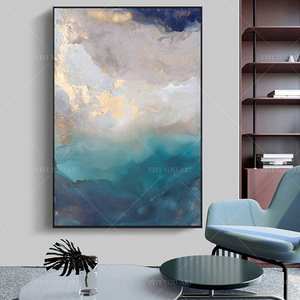 Handmade Modern Abstract Gold Grey White Sky seascape Textured large abstract painting, painting on canvas. Extra large painting(China)