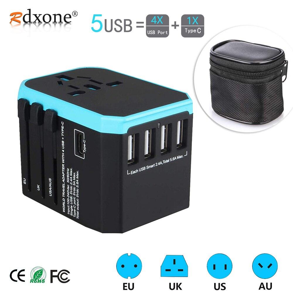 5usb adaptador de viagem universal adaptador de alimentação carregador em todo o mundo adaptador de parede elétrica plugues soquetes conversor para telefones celulares
