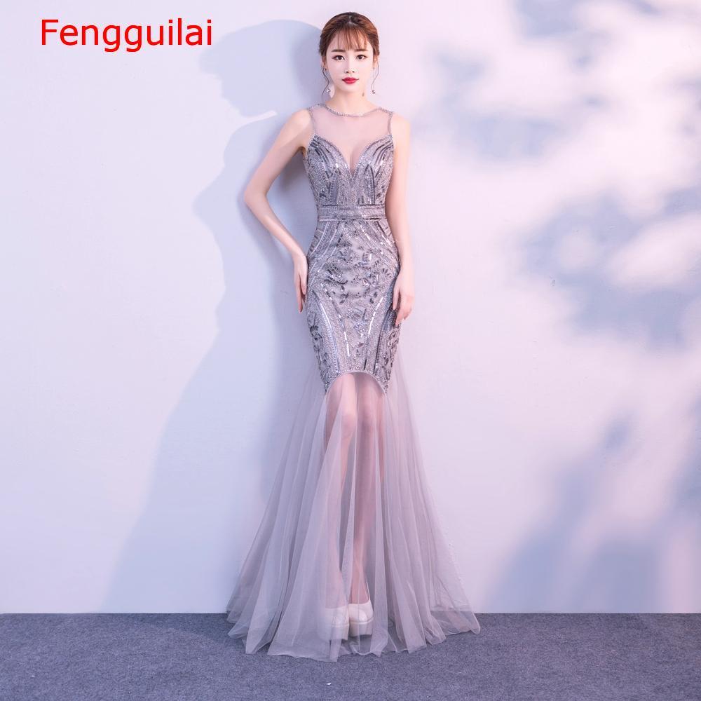 Lantejoulas beading vestidos sereia longo formal vestido de festa 2020 novo estilo