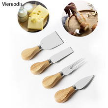 4pcs/set wood Handle sets Bard Set Oak bamboo Cheese Cutter Knife slicer Kit Kitchen cheedse cutter Useful Cooking Tools