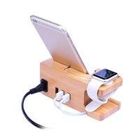 3-porta Usb Carregador Para Apple & Relógio Telefone Estande Organizador  Titular Berço  15W 3A Desktop Estação de Carregamento De Madeira De Bambu Para Iwatch