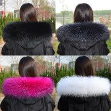 100% real natural jacket fur collar real raccoon fur women's scarf winter coat women's neck long warm real fur scarf