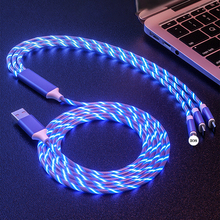 3 in 1 USB Cable LED Glow Flowing Fast Charging For iPhone 8 Samsung Huawei Type C/Micro USB/8 Pin Mobile Phone Charge Cord Wire usams u gee series 8 pin and micro 2 in 1 charge cable white