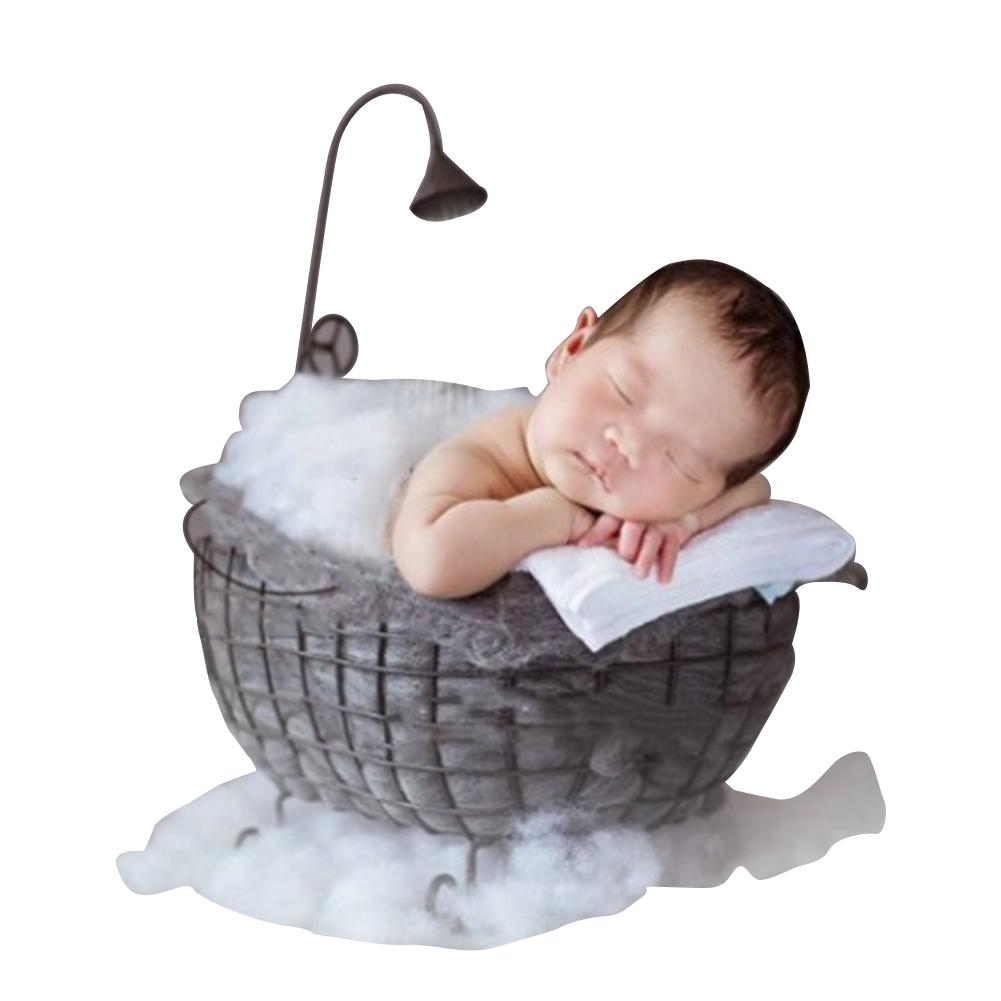 Newborn Photograph Props Basket Child Photography Assisted Full Moon Bathtub Photography Iron Bathtub Props High Quality