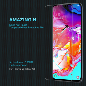 Para samsung a70 protetor de tela de vidro para samsung galaxy a70s nillkin incrível h 0.33mm nano anti-explosão película protetora