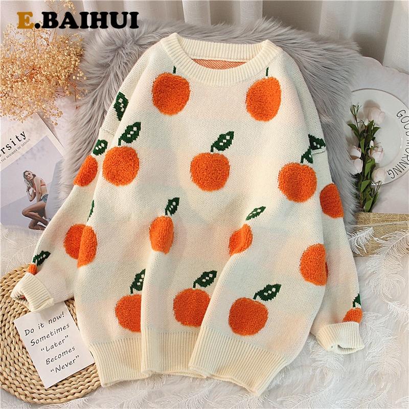 EBAIHUI-suéter estampado naranja con cuello redondo para mujer, jerséis de abrigo para invierno, Top suave, prendas de punto, 2021
