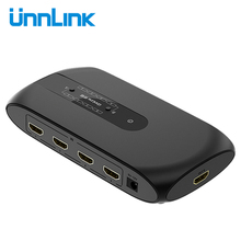 Unnlink Hdmi Matrix 4X2 Uhd 4K 4 In 2 Out Audio Extractor Hifi 5.1 Spdif Toslink 3.5 jack Switch Splitter Voor Ps4 Pc Led Tv Box