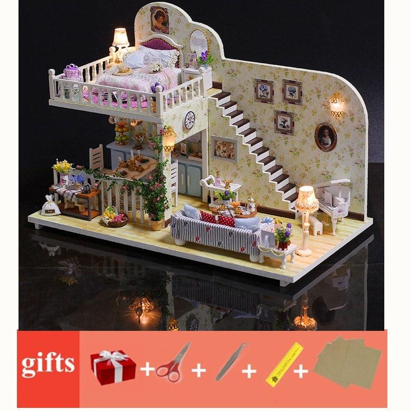 Grande casa de bonecas com capa de poeira móveis de madeira diy crianças casa de bonecas miniaturas móveis modelo brinquedos para crianças