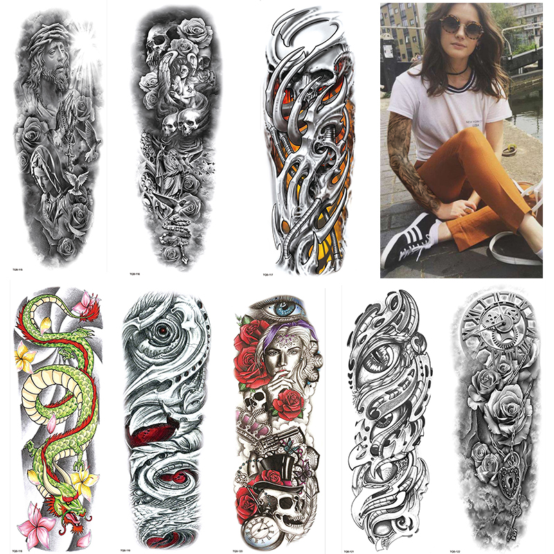 "Full Arm Temporary Tattoo For Man Women L19""xW7""(1Sheets)"
