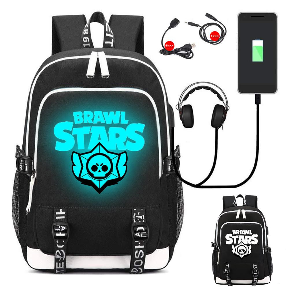 Brawl Stars Luminous Backpack Student USB School Bag Teenager Travel Laptop Bags Action Toys Kids Back to School Gifts Bag xanes a6s