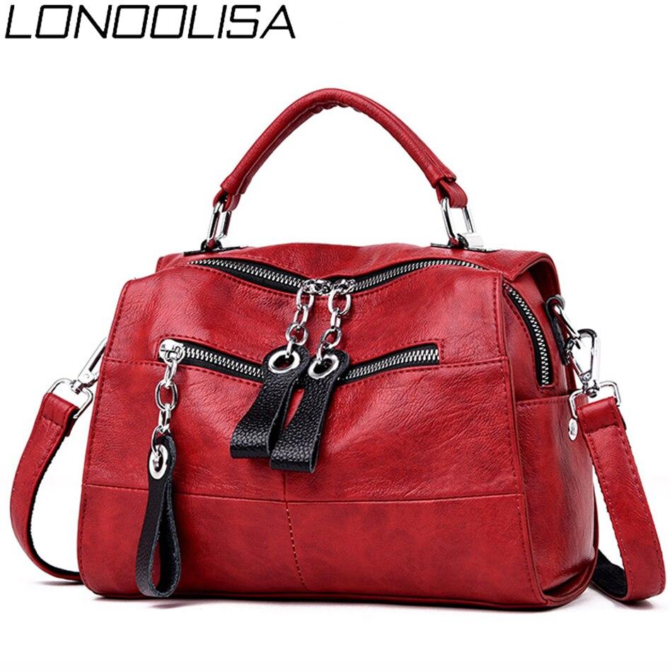 LONOOLISA 3-in-1 Women Leather Backpack Japan Style Backpack Shoulder Bags For Teenage Girls Female Bagpack mochila Sac A Dos