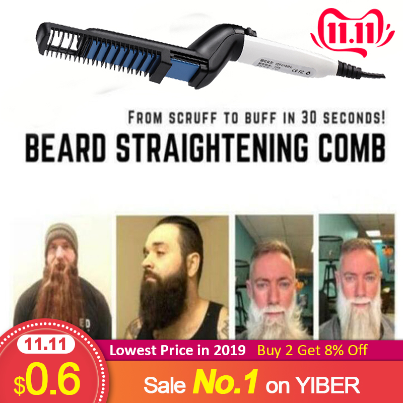 Men Quick Beard Straightener Styler Comb Multifunctional Hair Curling Curler Show Cap Tool Electric Hair Styler For Men
