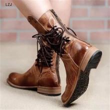 Новинка; Осенняя Женская обувь в стиле ретро; Женские ботинки в байкерском стиле размера плюс; обувь для офиса и вечеринок; кожаная обувь; ботинки до середины икры на низком каблуке