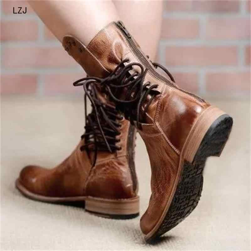 New Autumn Women Shoes Retro Female Block Motorcycle Booties Plus Size Office Party Shoes Leather Shoes Low Heel Mid Calf Boots